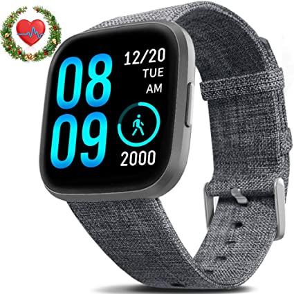 FITVII Health & Fitness Smart Watch with Blood Pressure Heart Rate Monitor, ip68 Waterproof Bluetooth Smartwatch for Android iOS Phone,Sleep Tracking ...