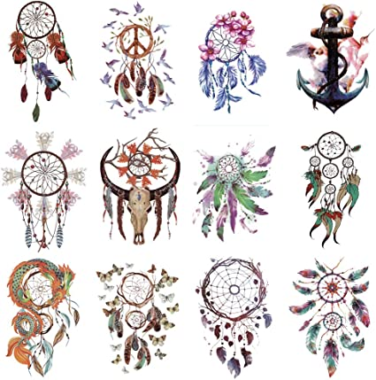 WYUEN 12 piezas/lote atrapasueños ancla temporaria tatuaje ...