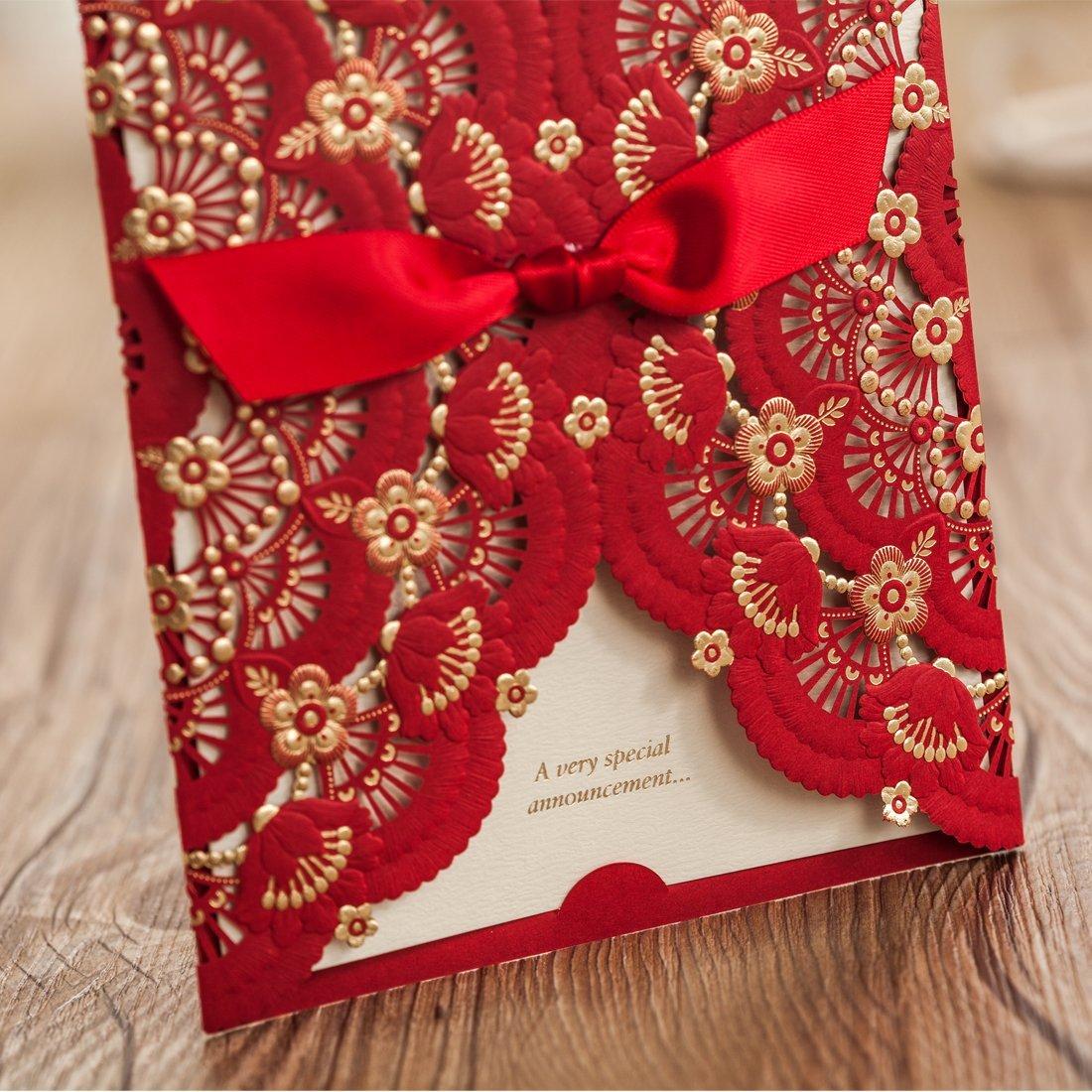 Amazon.com: Wishmade 50x Elegant Red Laser Cut Wedding Invitations ...