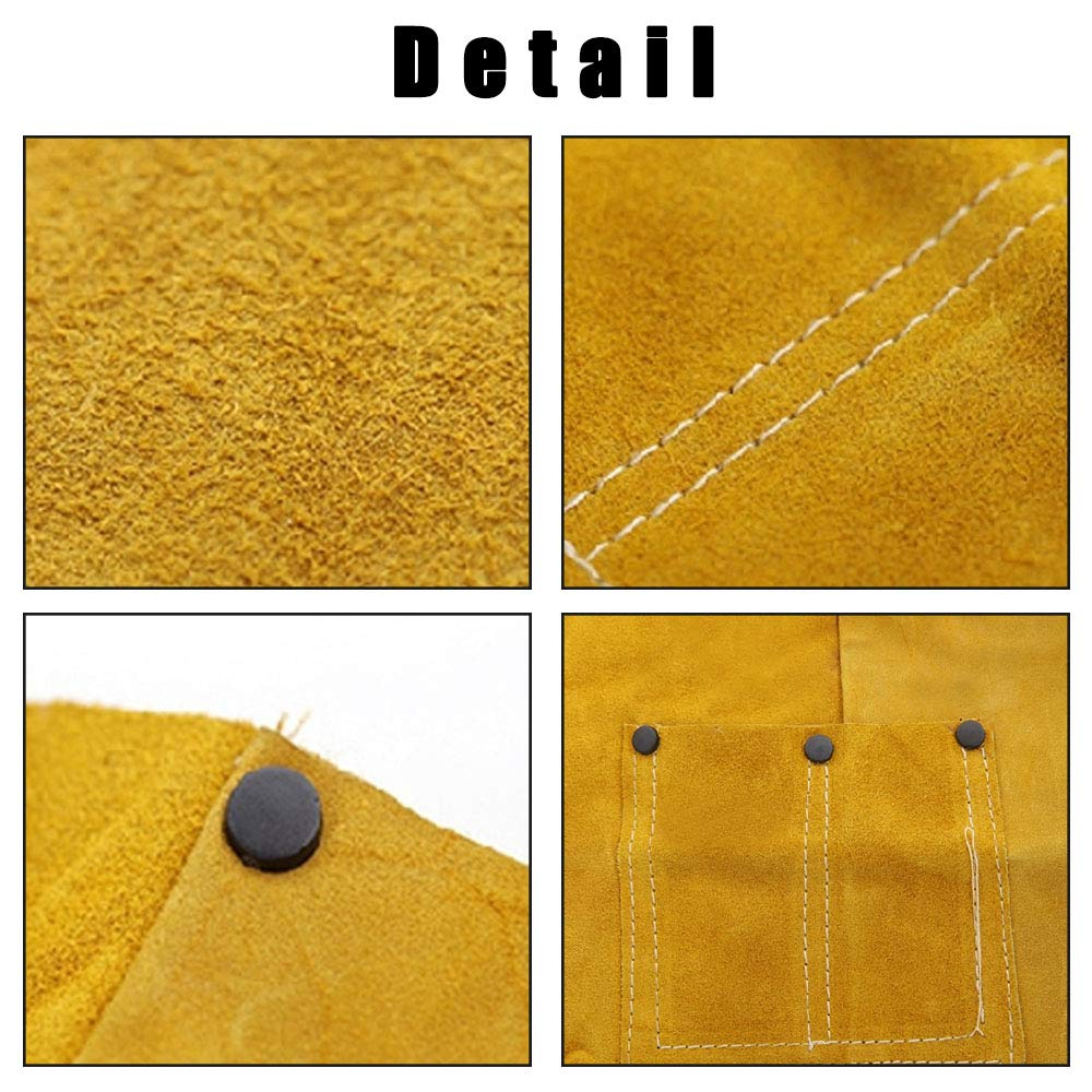 Phoenixfly99 Leather Welding Bib Apron Cowhide Split Leather Safety Apparel Flame Resistant Apron With Pocket Yellow (28-Inch By 39-Inch) by Phoenixfly99 (Image #3)