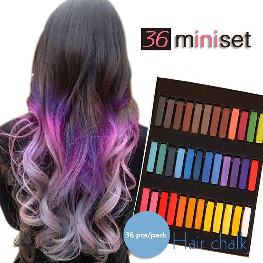 Temporary Hair Dye Color Non-Toxic Soft Pastels Chalk Colourful Hair Chalk Pens. Temporary Colour for Girls for All Ages. Makes a Great Birthday Gift (36 color)