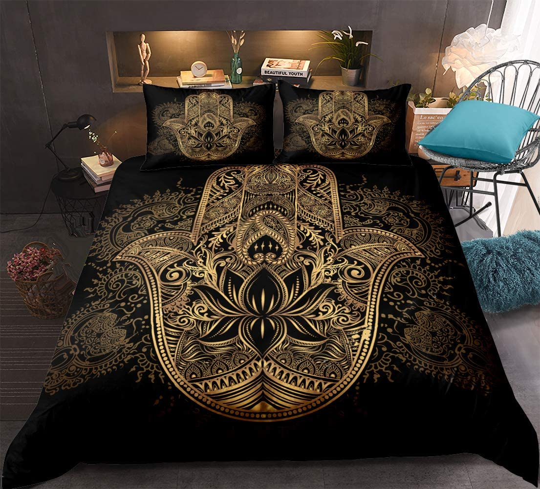Gold Hamsa Hand Bedding Black Gold Bohemian Duvet Cover Set Golden Hand of Fatima Floral Pattern Boho Hippie Bedding Sets Queen 1 Mandala Duvet Cover 2 Pillowcases (Hamsa Hand, Queen