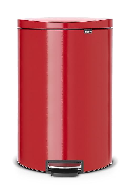 Brabantia Flatback 485220 - Cubo de Basura, 40 l, Ahorra Espacio, Cubo Interior de plástico extraíble, Color Rojo pasión