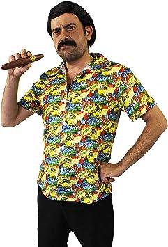 I LOVE FANCY DRESS LTD Disfraz DE Pablo Escobar - Camisa Hawaiana Amarilla + Peluca + Bigote + CIGARRO + Barriga Inflable PELÍCULAS DE TV Disfraces DE SEÑOR DE Las Drogas -
