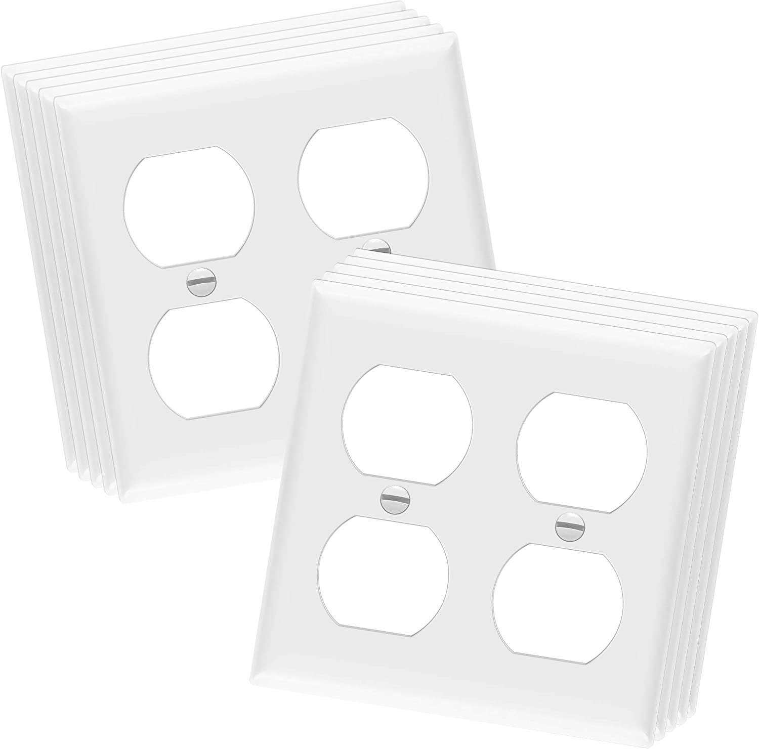 Enerlites 8822 W 2 Gang Duplex Outlet Wall Plate Standard Size Unbreakable Polycarbonate White 10 Pack