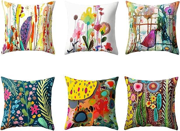 VLUNT 6 Pack Fundas de Cojines para Sofa, Estampados de Acuarelas Flores y pájaros Fundas Cojines 45x45cm Cushion Cover: Amazon.es: Hogar