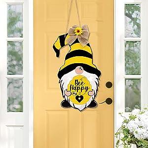 Zingoetrie Bumble Bee Gnomes Door Sign Yellow & Black Scandinavian Tomte Wood Door Hanger Bee Happy Home Farmhouse Wreath Attachment Spring Summer Front Door Porch Decor