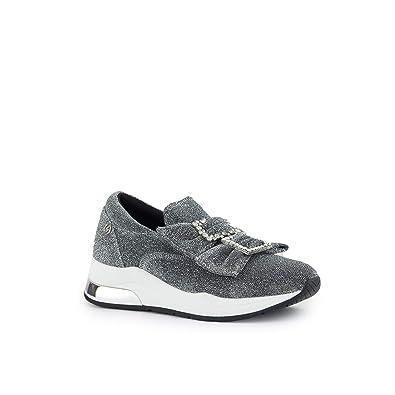 LIU JO Zapatos de Mujer Zapatillas Slip on B68011 TX006 Karlie 09 Slipon Bow Negro/Plata: Amazon.es: Zapatos y complementos