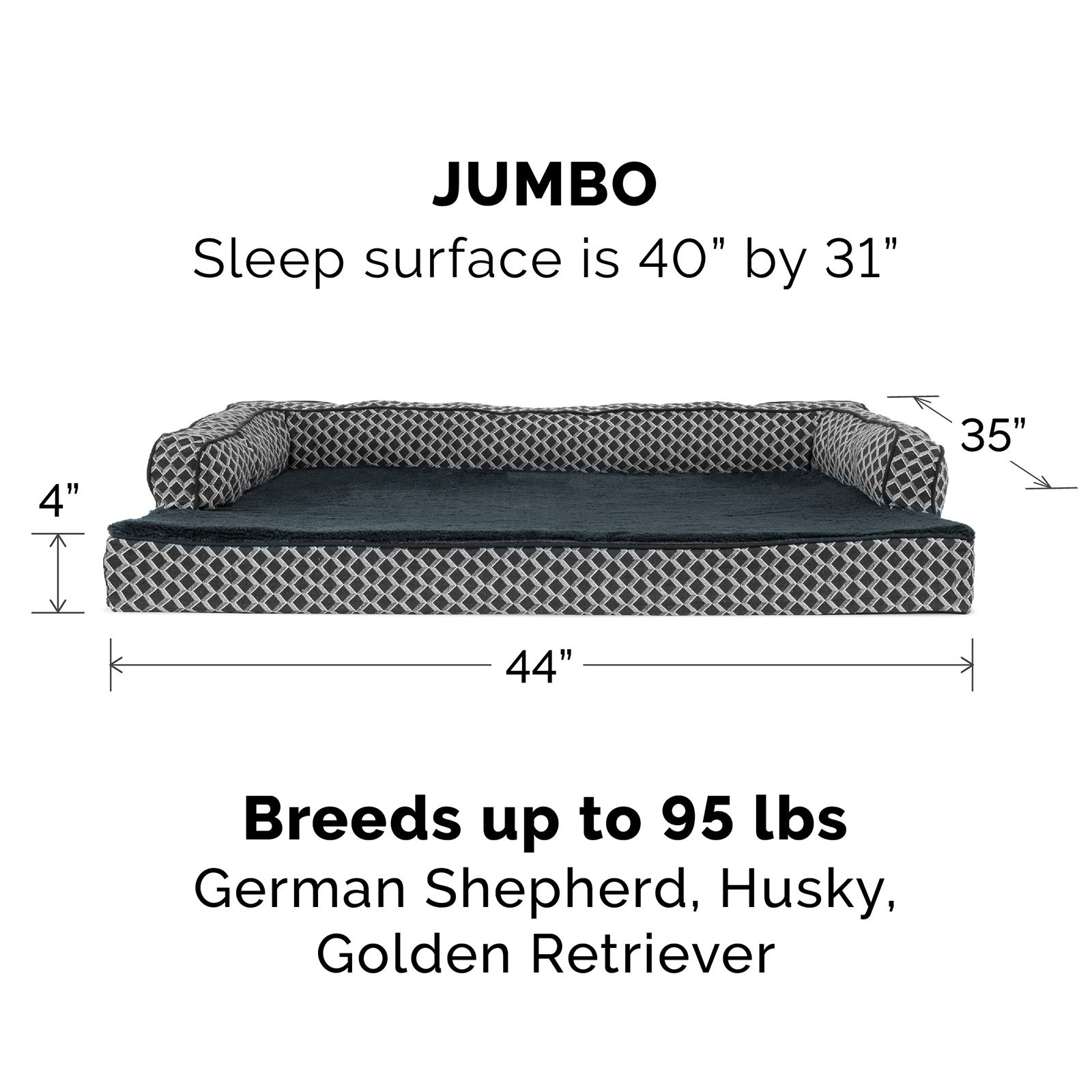 FurHaven Pet Dog Bed | Orthopedic Plush & Décor Comfy Couch Sofa-Style Pet Bed for Dogs & Cats, Diamond Gray, Jumbo by Furhaven Pet (Image #3)