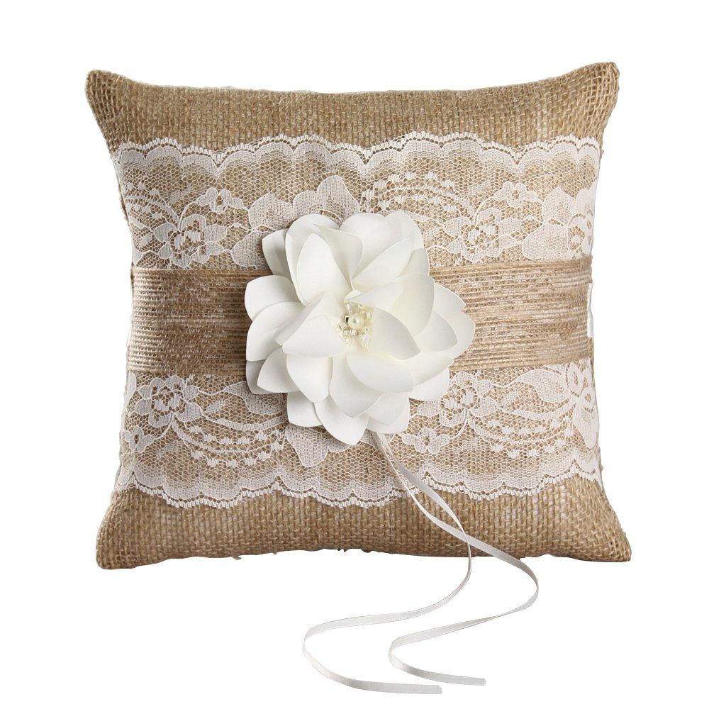 Ivy Lane Design Rustic Garden Square Ring Pillow, 8-Inch, Ivory