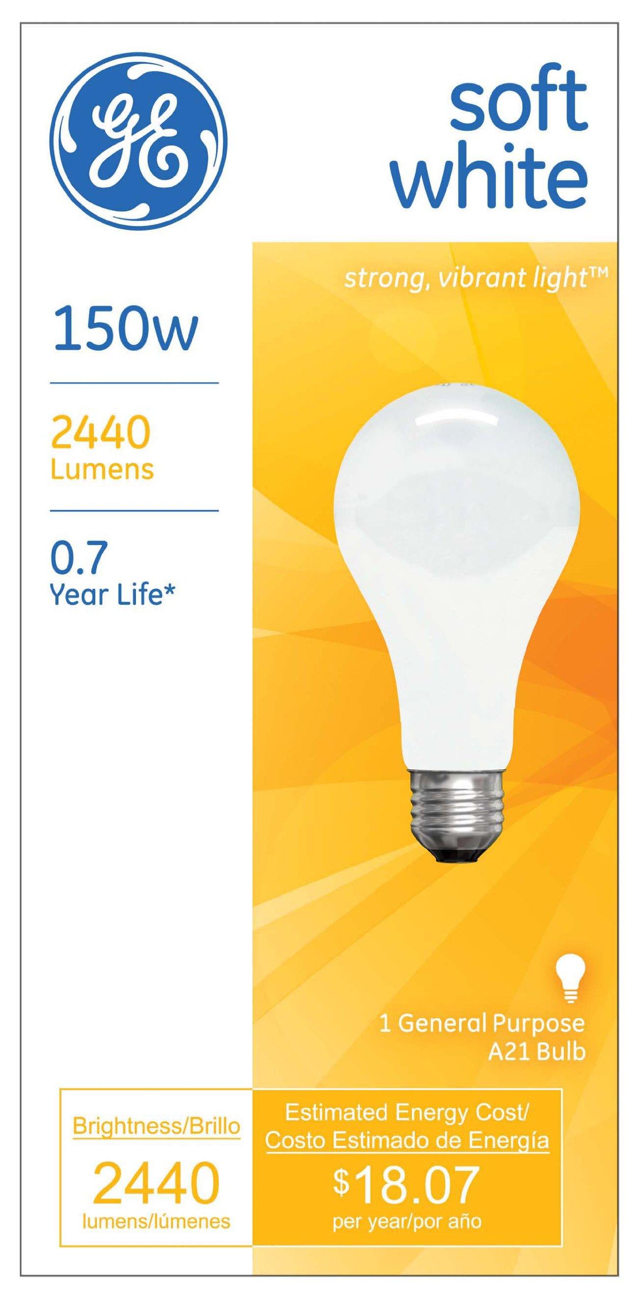 GE Lighting 10429 Soft White 150-Watt, 2680-Lumen A21 Light Bulb with Medium Base, 12-Pack by GE Lighting (Image #2)