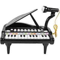 VikriDa Birthday Gift for 2 3 4 5 Year Old Piano Musical Instrument Toys - Black Keyboard for Child with Built-in Microphone 24 Keys