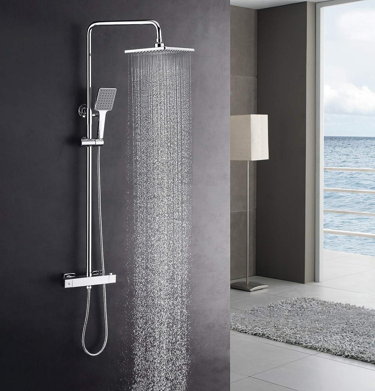 KAIBOR columna ducha termostatica y ducha de lluvia 22x22 cm, sistema de ducha de altura ajustable Ducha de mano, juego de ducha cuadrado con ducha de mano y ducha de mano.: Amazon.es: