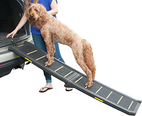 Pet Gear Travel Lite Bi-Fold Reflective Pet Ramp, Black Yellow
