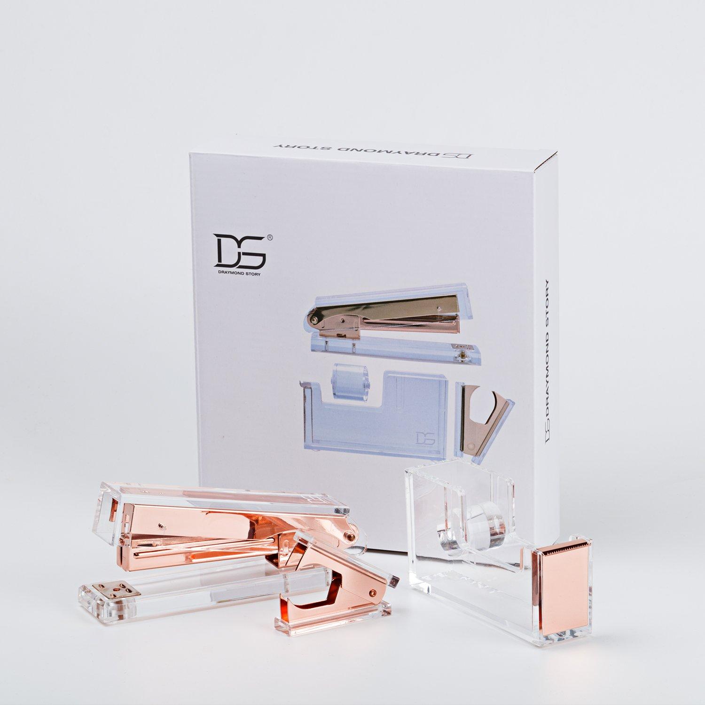 Draymond historia oro rosa acrílico papelería Bundle 1) grapadora 1) dispensador de cinta adhesiva (1) quitagrapas: Amazon.es: Oficina y papelería