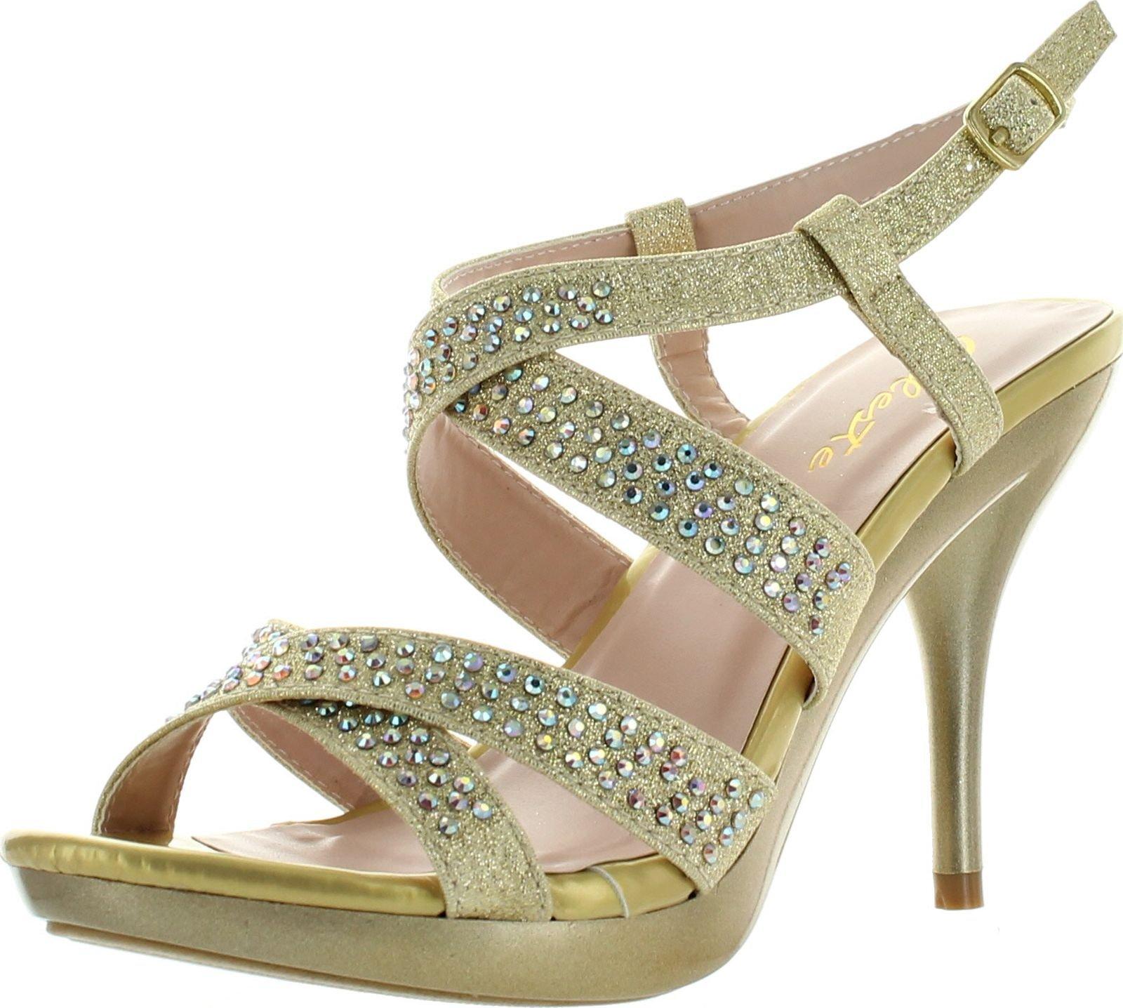Celeste Womens Lynn-03 Strappy Dress Bridesmaid Prom Party Sandal Pumps,Gold,7