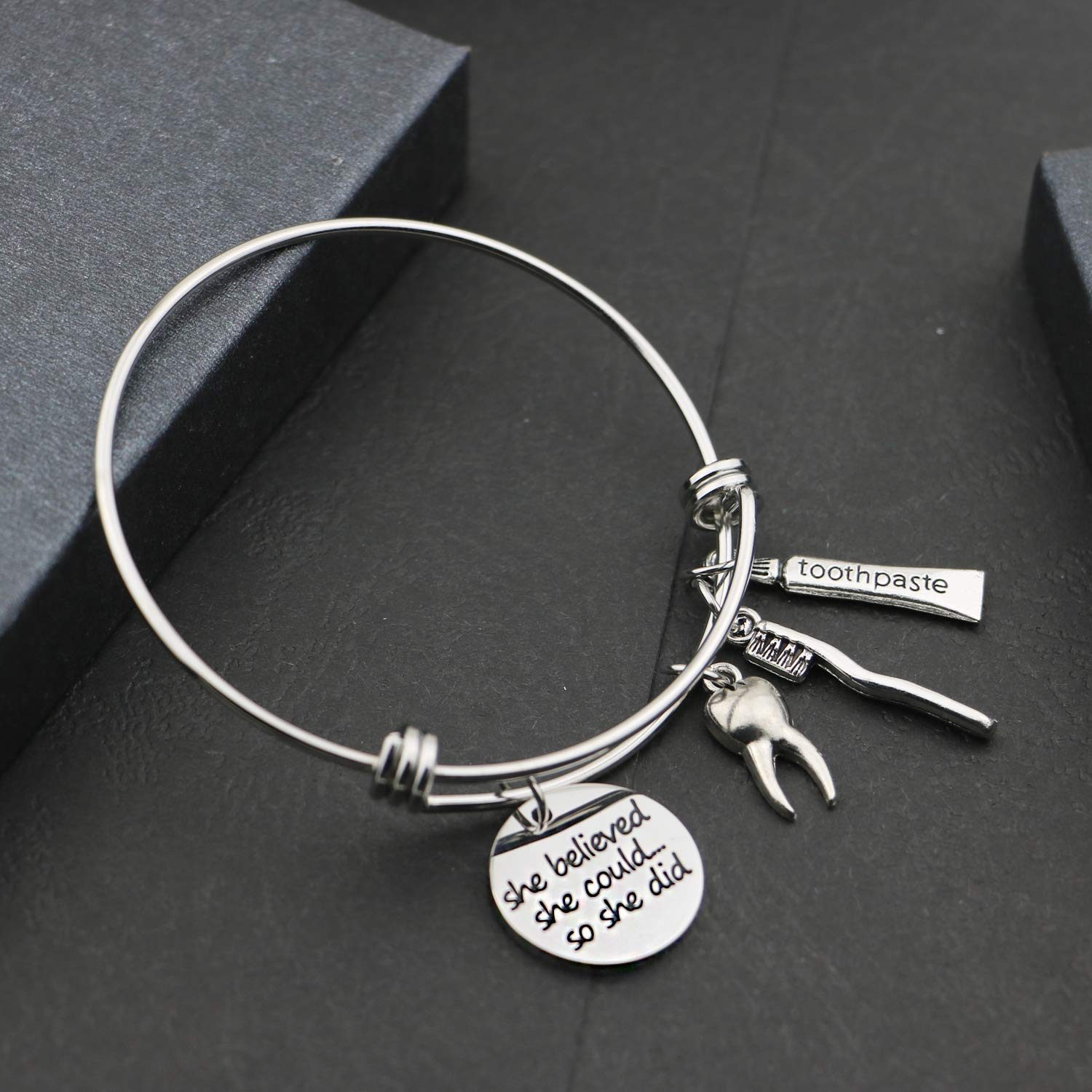 ENSIANTH Dental Hygienist Gifts She Believed She Could So She Did Keychain Dentist Jewelry Graduation Gift for DH