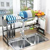 Over Sink Dish Drying Rack, Drainer Shelf for Kitchen Supplies Storage Counter Organizer Utensils Holder Stainless Steel Display- Kitchen Space Save Must Have (for Sink ≤ 32.5inch, Black)