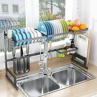 "Over Sink(32"") Dish Drying Rack, Drainer Shelf for Kitchen Supplies Storage Counter Organizer Utensils Holder Stainless Steel Display- Kitchen Space Save Must Have (Sink Size ≤ 32 1/2 inch, Black)"