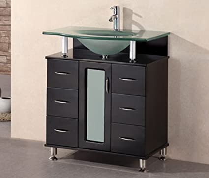Design Element Huntington Single Drop In Sink Vanity Set With Integrated  Tempered Glass Countertop,