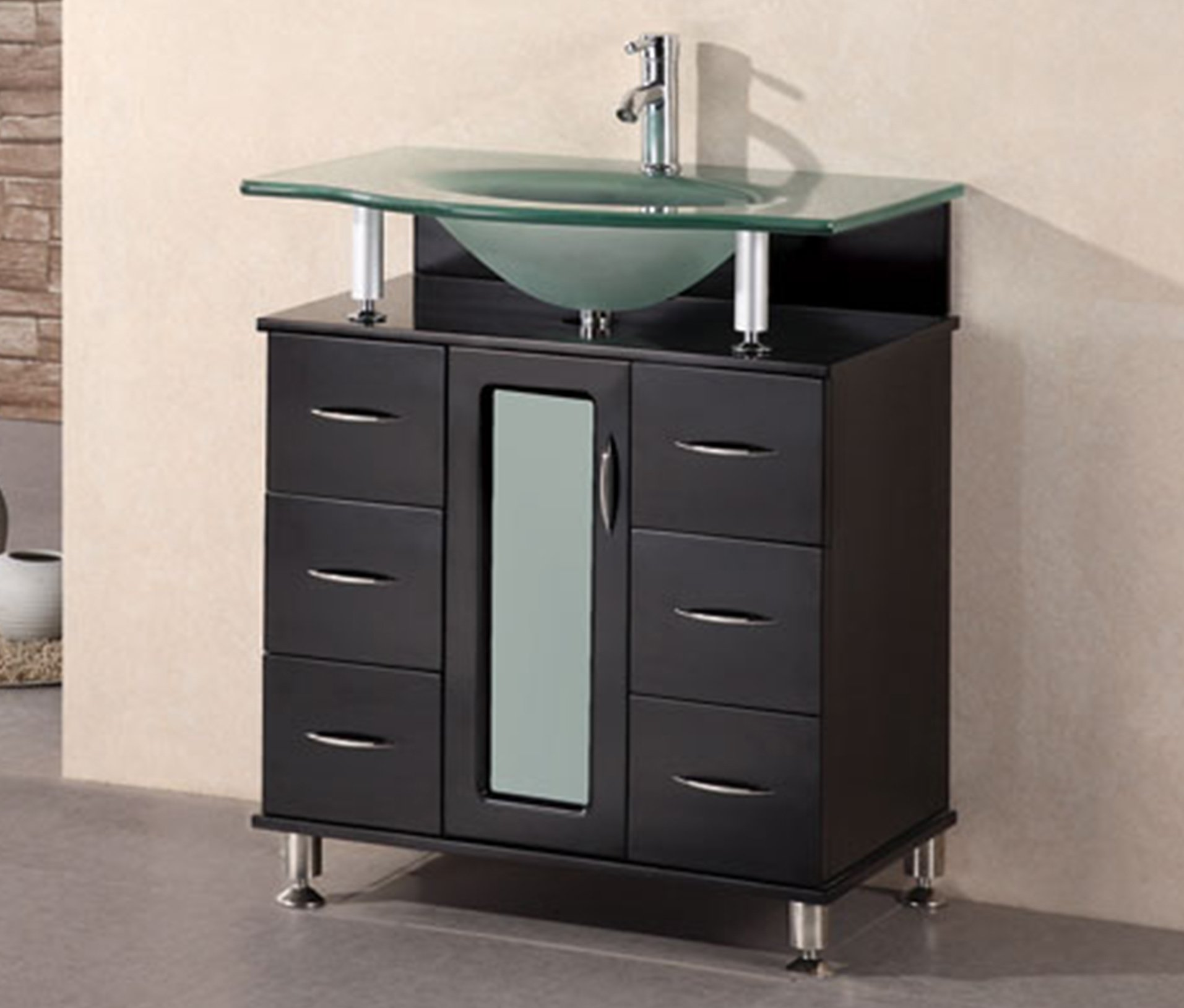 Design Element Huntington Single Drop-In Sink Vanity Set with Integrated Tempered Glass Countertop, 30-Inch