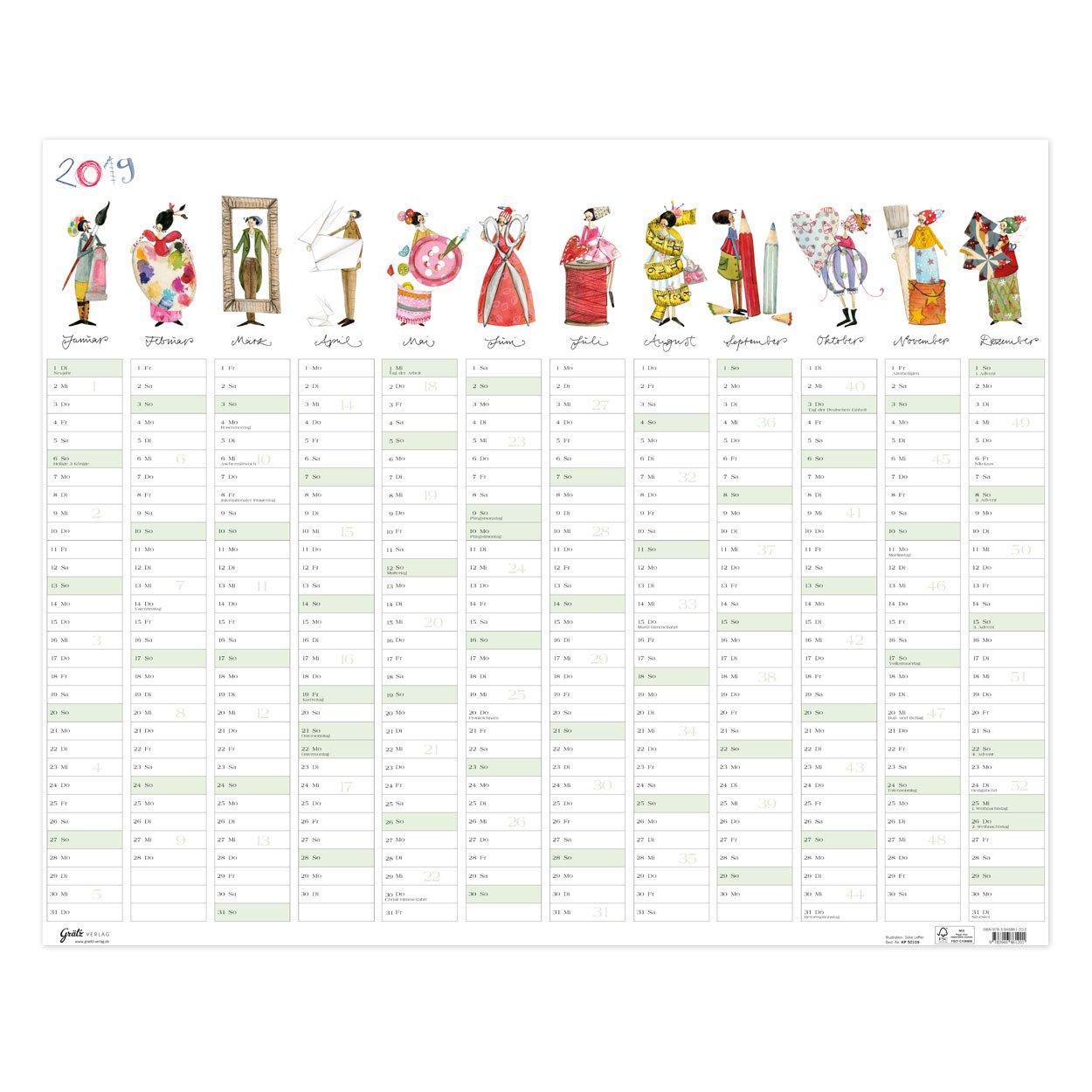 Agenda (Año 2019, grande (72 x 58 cm), - Calendario de pared ...