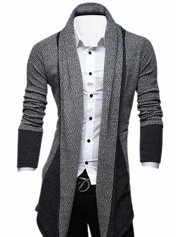 EKU Mens Classic Open-Front Shawl Collar Cardigan