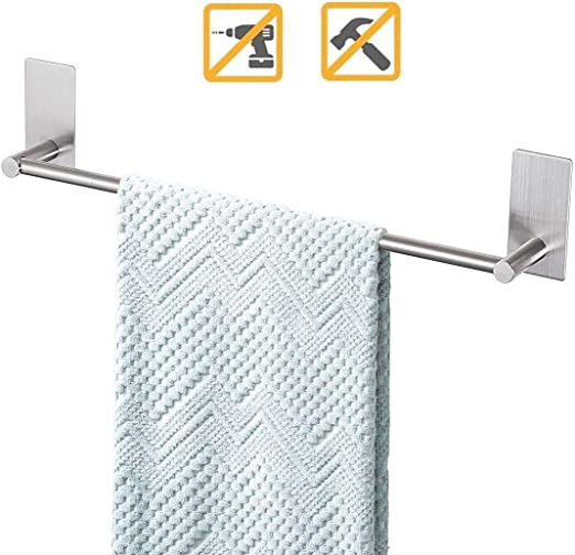 Amazon Com Songtec Bathroom Towel Bar 16 Inch No Drill Stick On Towel Rack Easy Install With Self Adhesive Premium Sus304 Stainless Steel Brushed Nickle Home Kitchen