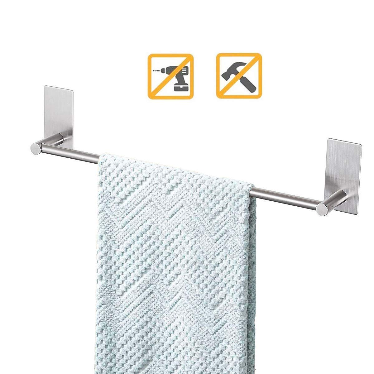 Songtec Bathroom Towel Bar 16inch, Easy Install with Self-Adhesive, NO Drilling on Walls, Premium SUS304 Stainless Steel - Brushed by Songtec