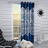 Home Sizzler 1 Piece Eyelet Polyester Window Curtain, 5ft, Blue