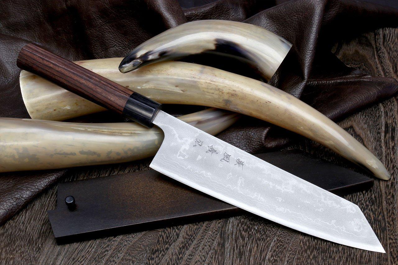 Yoshihiro Mizu Yaki 16 Layers Suminagashi Blue Steel #1 Kiritsuke Multipurpose Japanese Chef Knife, Shitan rosewood Handle (8.25 IN) with Nuri Saya Cover by Yoshihiro (Image #2)