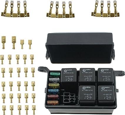 T Tocas - Caja de relé de 12 ranuras, 6 relés, 6 fusibles, caja de ...