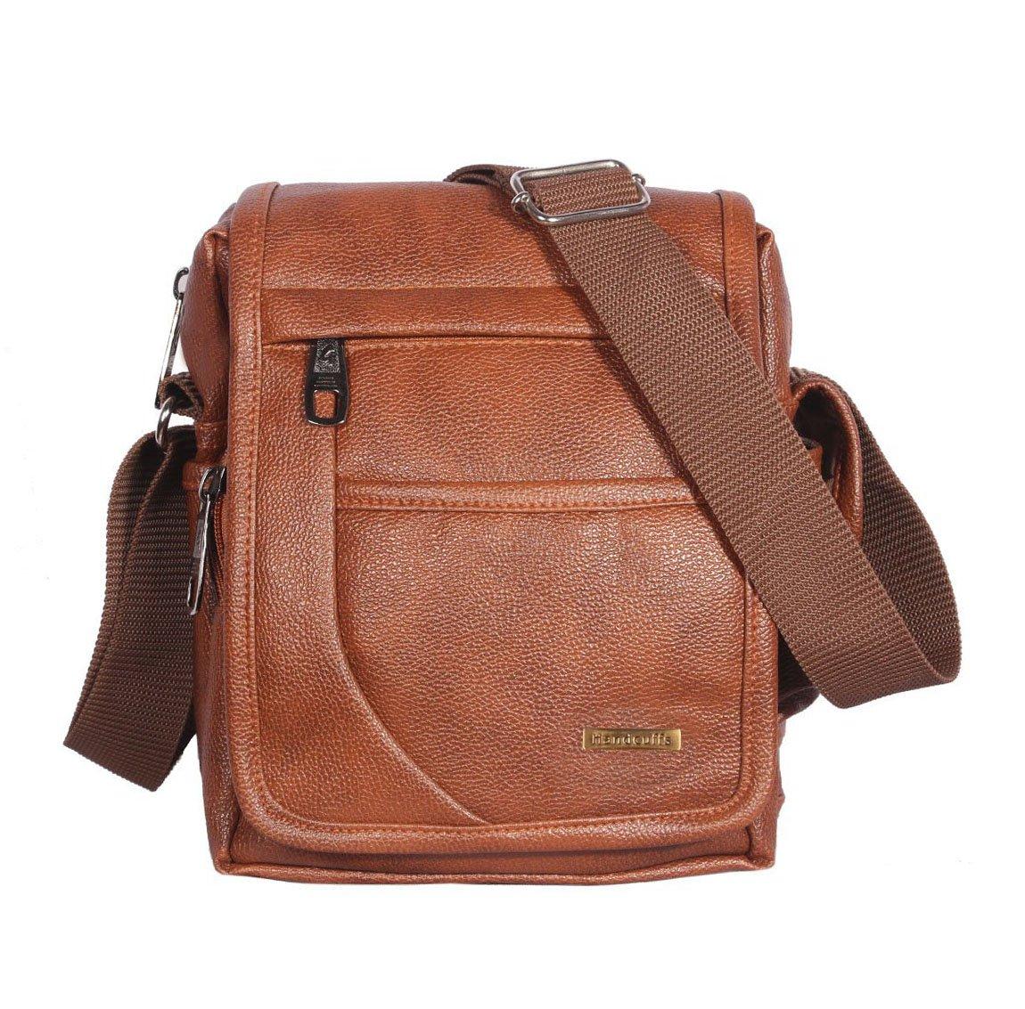 Handcuffs Mens Bag Messenger Bag Leather Shoulder Bags Travel Bag Crossbody Bags for Men Work Business - 10 Inch product image