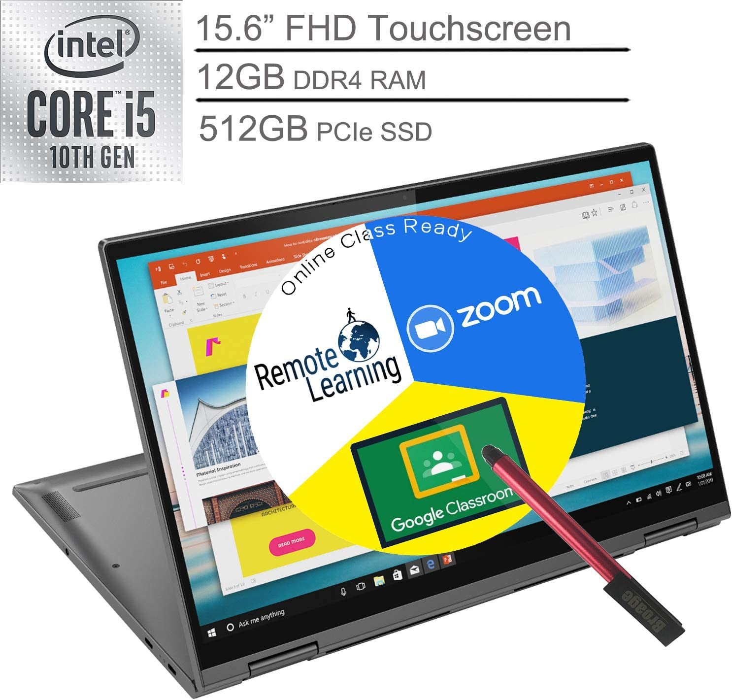 "2020 Lenovo Yoga C740 2-in-1 15.6"" FHD Touchscreen Laptop Computer, Intel Quad-Core i5-10210U (Beats i7-7500U), 12GB DDR4 RAM, 512GB PCIe SSD, Windows 10, BROAGE 64GB Flash Stylus, Online Class Ready"