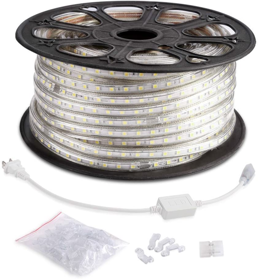 B078L8FFFT AccOED 164ft Flexible LED Strip Lights, 3000 Units SMD 5050 LEDs, 6000K Daylight White, 720lm/m, 110-120 V AC, Waterproof IP65, Accessories Included, LED Tape, LED Rope Lights, Pack of 164ft/50m 71QIFuZWIoL.SL1000_