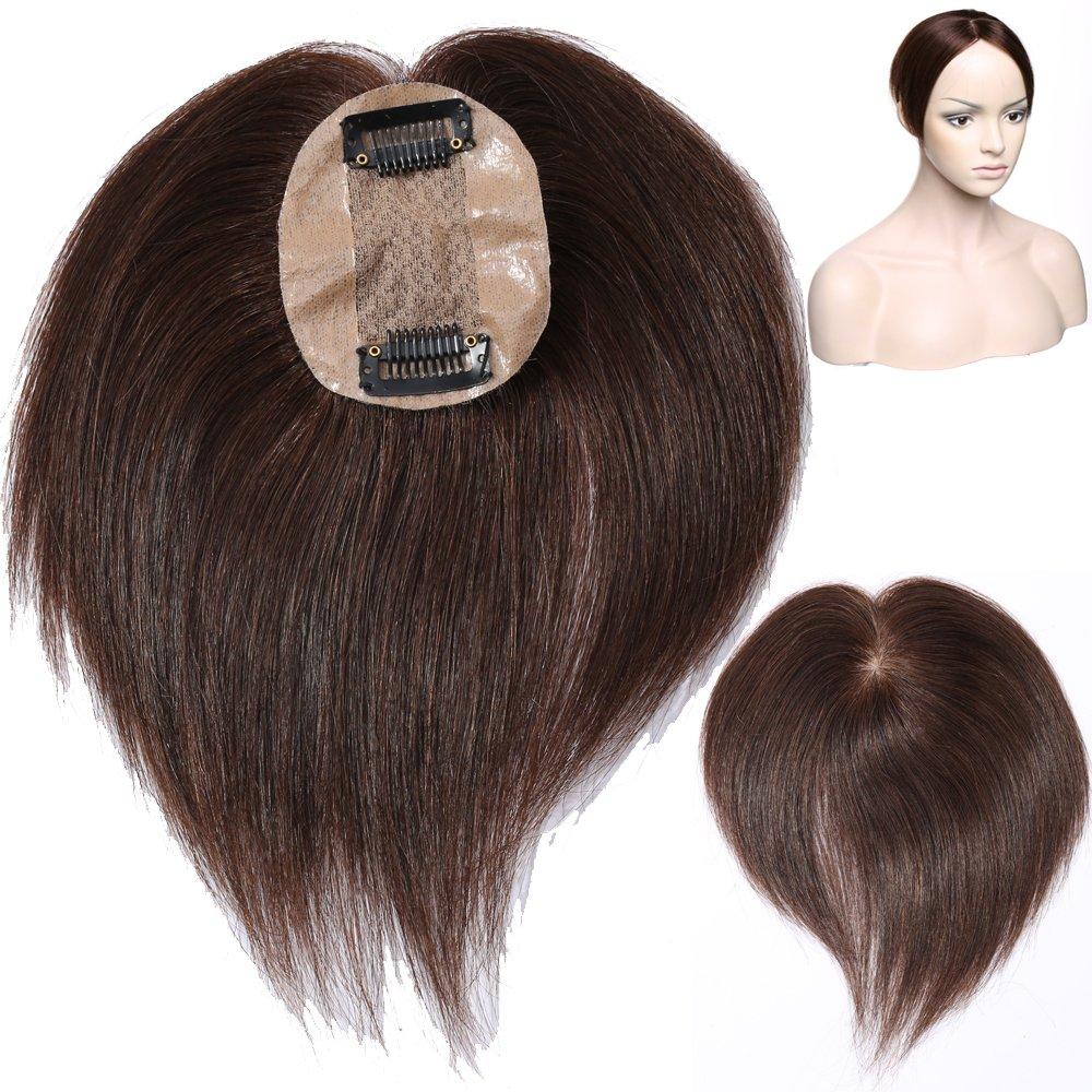 Human Hair Topper Toupet Extension Capelli Veri Clip Volumizzante Hairpiece Remy Human Hair Silk Base Mono Top 6cm x 9cm Parrucca Donna per Calvizia Perdita di Capelli, 4 Marrone Cioccolato Rich Choices