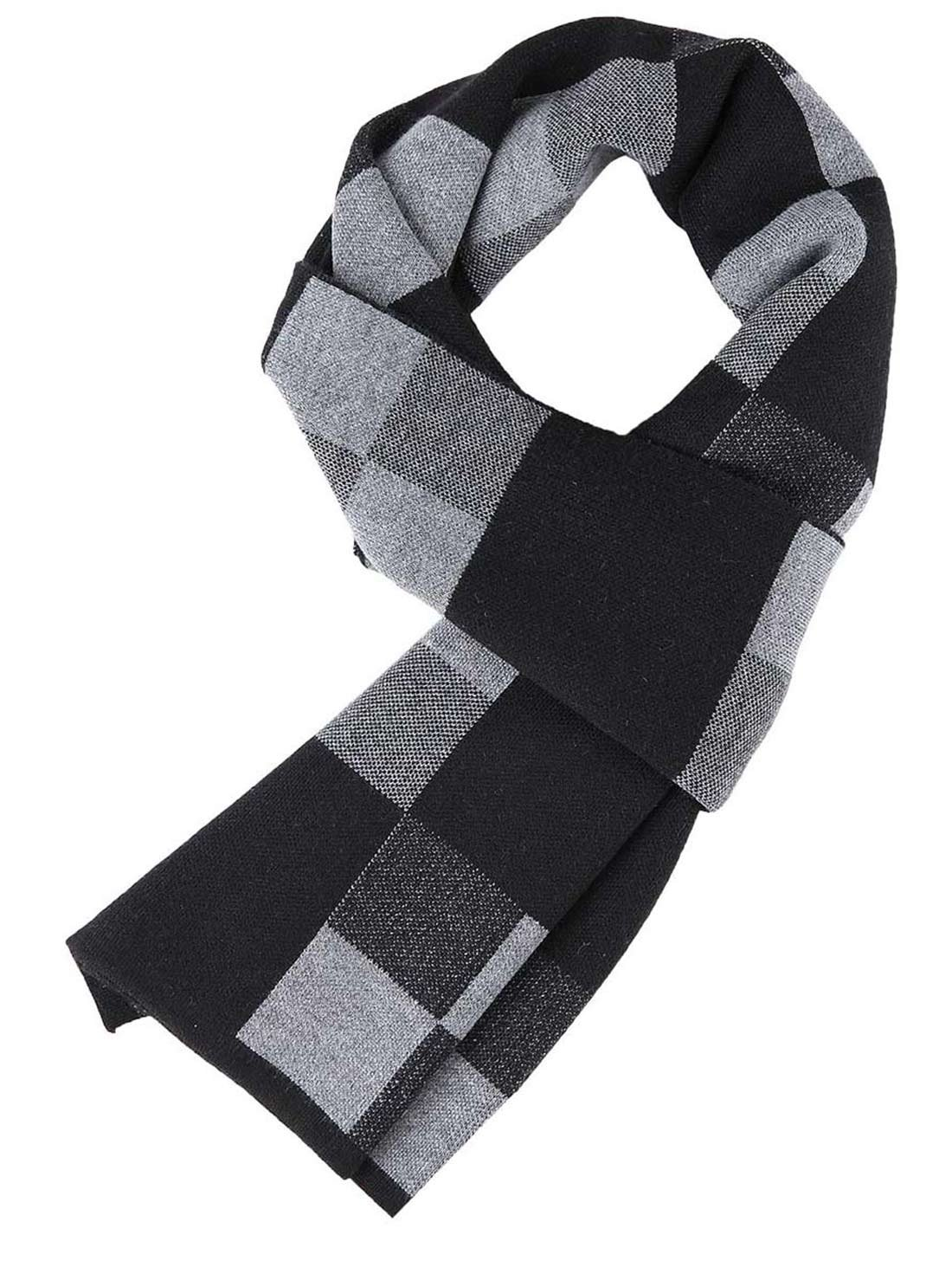 Panegy Men Neckerchief, Winter Fall Plaid Stripes Long Cashmere Pashmina Soft Elegant Scarves-Coffee and Yellow FSG51346