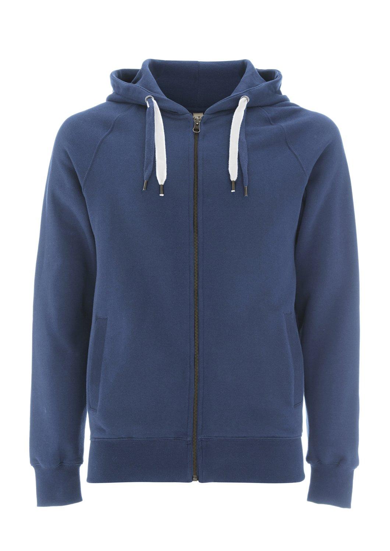 Underhood of London Faded Denim Blue Hoodie for Men - Small - Mens Zip Up Cotton Hooded Sweatshirt by Underhood of London