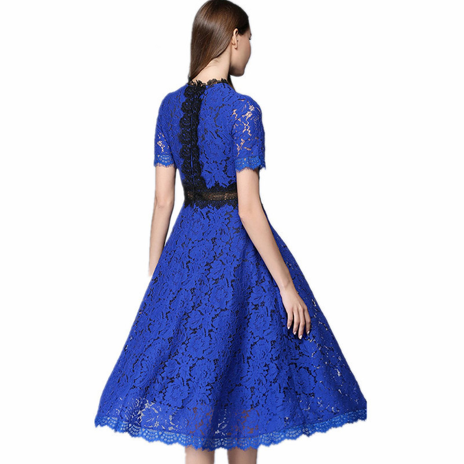 Women Summer Short Sleeve O Neck Hollow Out Lace A-Line Casual Midi Dress
