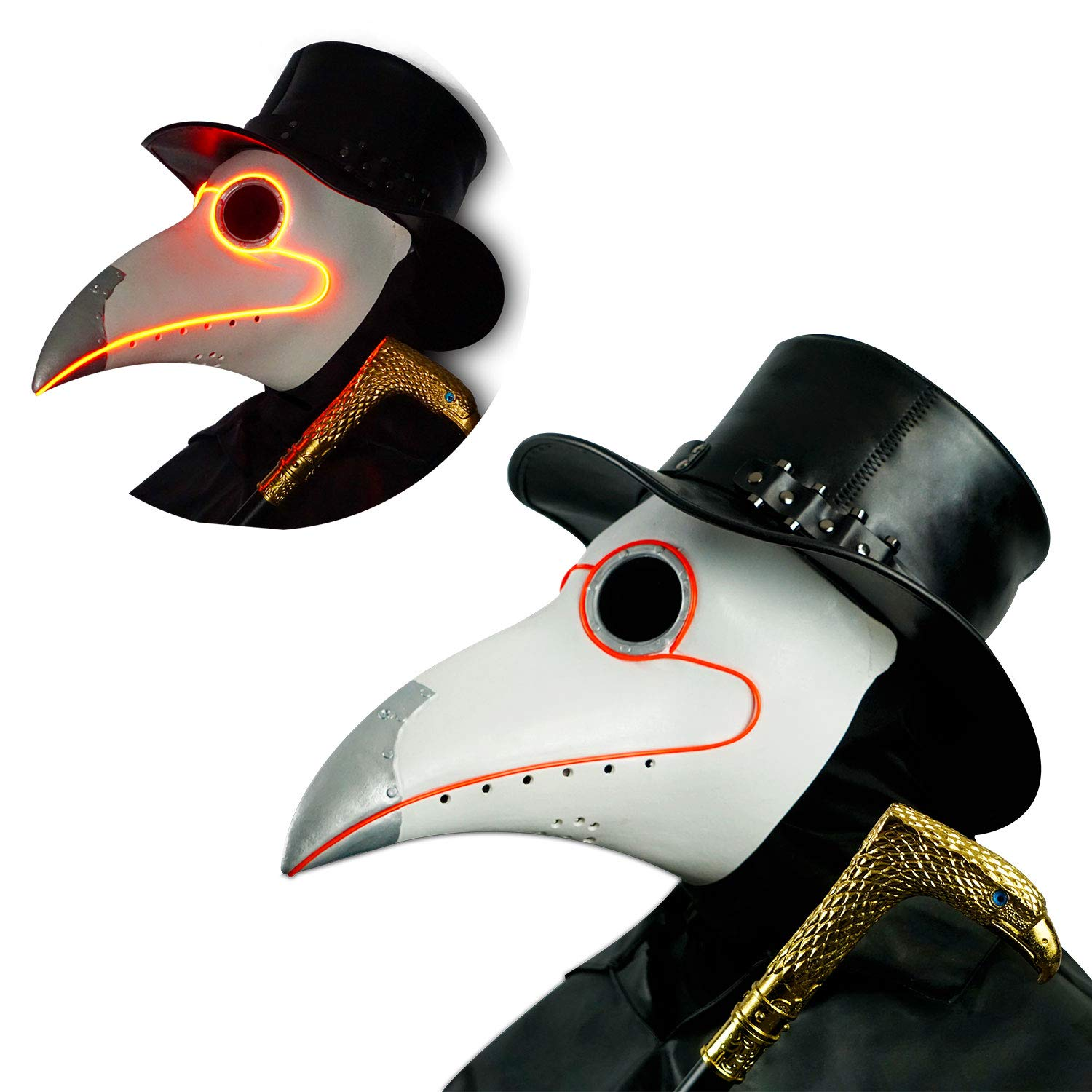 LED White Rubber Plague Doctor Mask Light Up, Halloween Long Nose Bird Beek Steampunk Gas Latex Face Mask, Party Cosplay Costume Prop for Kids and Adult