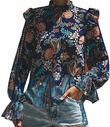 Blusas de Mujer Camisa de Manga Larga Otoño del Estampado ...