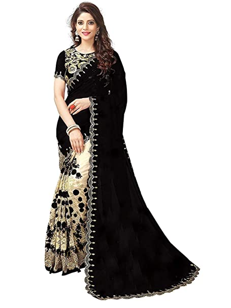 734bc2698b2212 Manorath Georgette Saree (Sari with blouse piece_Black_Free Size ...