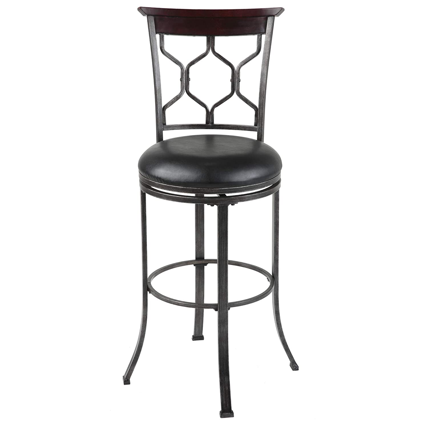 Leggett /& Platt Honolulu Swivel Seat Bar Stool with Coffee Finished Metal Frame 30-Inch Seat Height Sculpted Legs and Black Faux Leather Upholstery