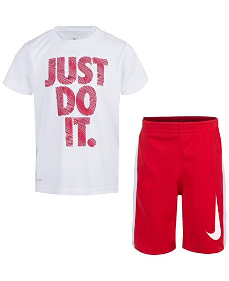 d350d86ea4 Amazon.com: NIKE Toddler Boys' Dri Fit Short Sleeve T-Shirt and Short 2  Piece Set (White (86D621-001)/University Red/Cool Grey, 7): Sports &  Outdoors