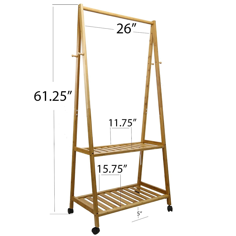 Kagura bambú organizador de ropa | perchero de pared para ...
