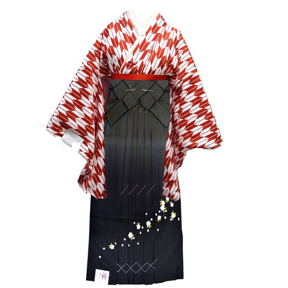 卒業式 袴セット 女性レディース二尺袖着物ぼかし刺繍袴セット 5サイズ4色/ B00I3S6DK2 LL(99cm)|グレー グレー LL(99cm)