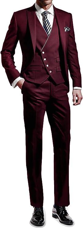 Suit Me Hombres 3 piezas juego delgado fiesta de bodas en forma ...