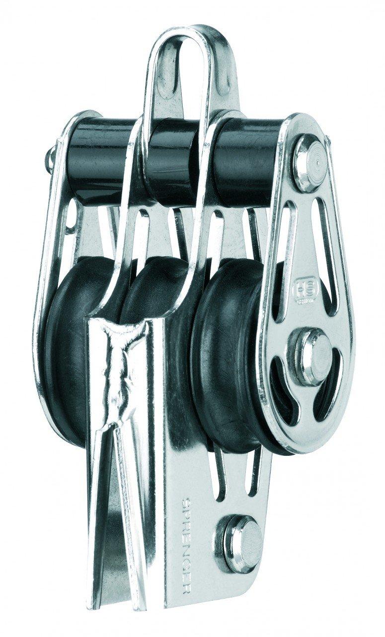 Sprenger Poulie palier lisse pour palan cordage 6 mm 3 réas anneau ringot et coinceur V