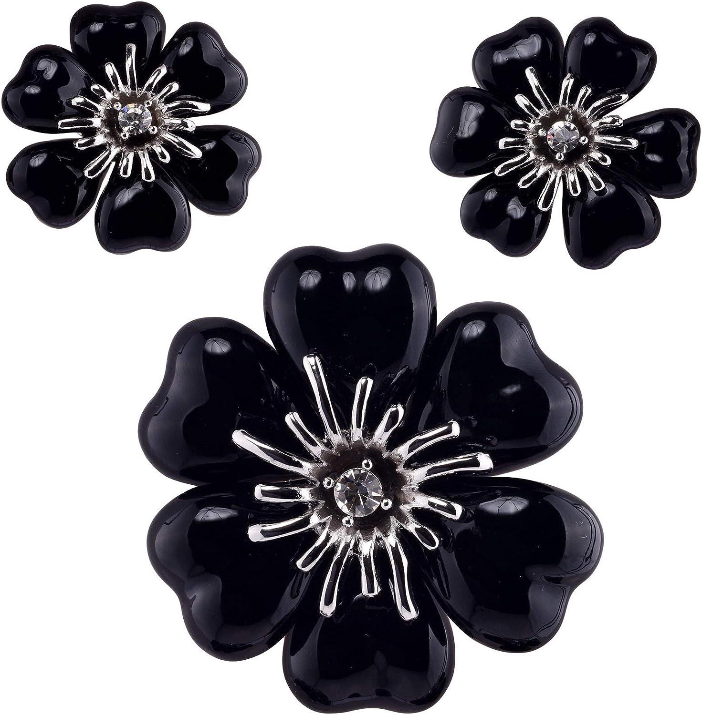 Lisa Hsieh Retro Rhinestone Black Onix Flower Brooch-Earring Demi Parure Set