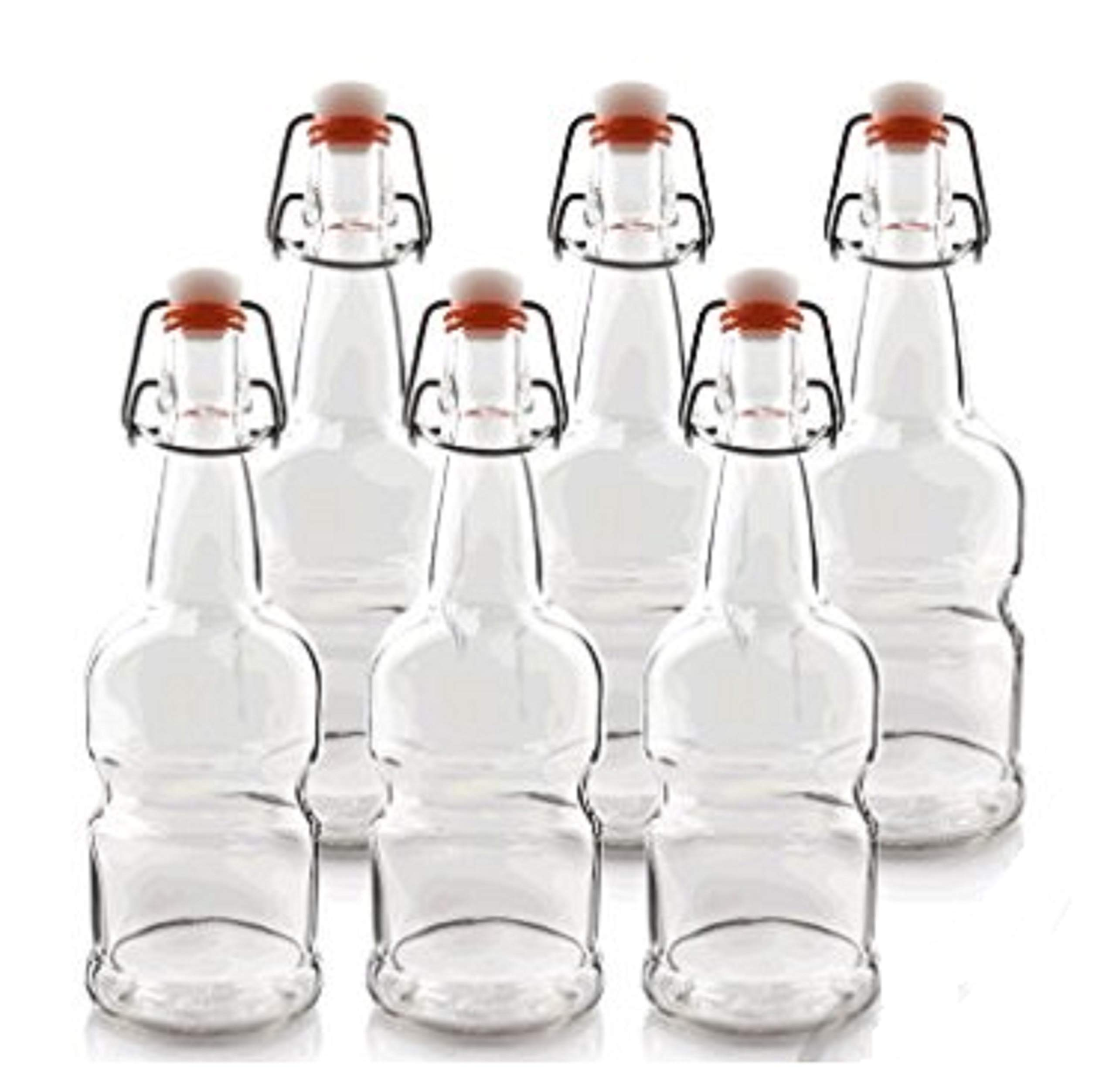 Teikis 16oz Kombucha/Beer / Glass Bottles (6 Pack,Clear) with Easy Cap (Better Grip - Non Slip)